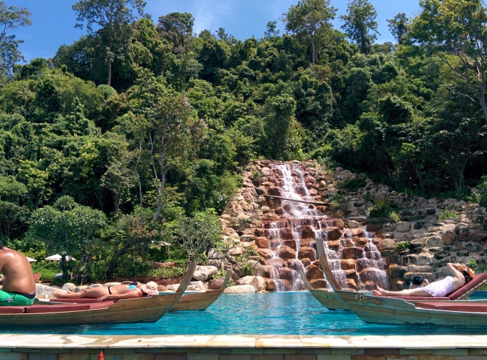 The waterfall at the swimming pool